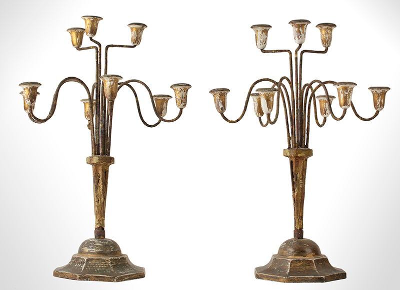 Vintage Candelabrum, Shabby Chic, Wood, Iron, Gesso and Paper , entire view